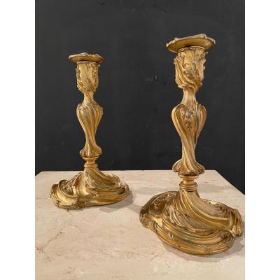 Pair Of Candlesticks In Gilt Bronze Late Nineteenth Century