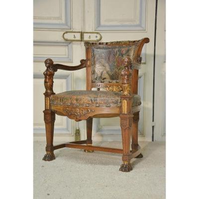 Fauteuil De Bureau De Style Renaissance En Noyer