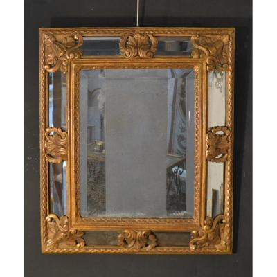 Petit Miroir à Parcloses En Bois et stuc Doré