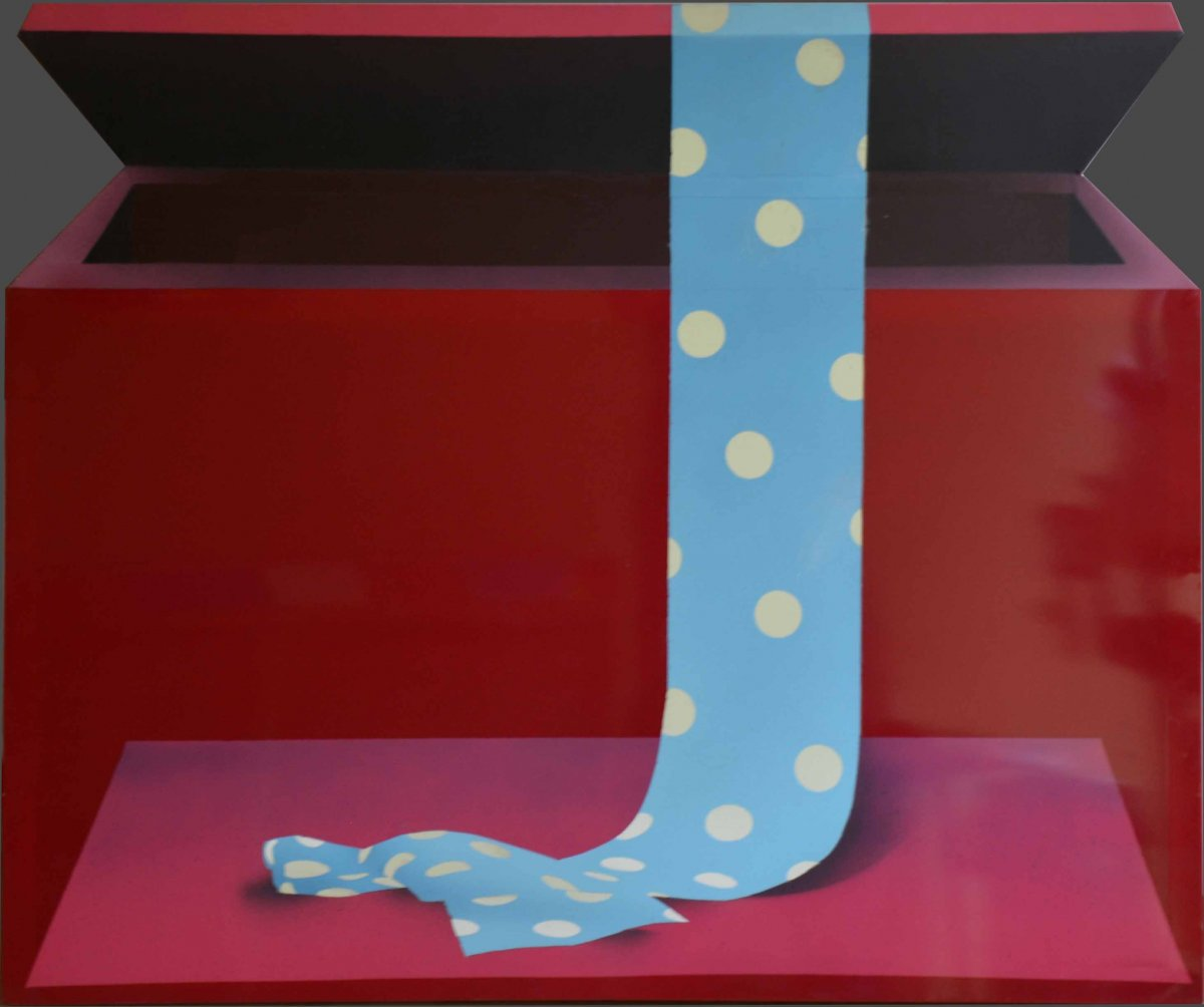 Acrylic And Mixed Media By Alain Dufo. Born In 1934. The Tie Box.
