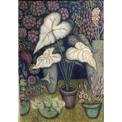 Oil On Canvas By Juliette Roche (1884-1982). The Pot Of Arums.