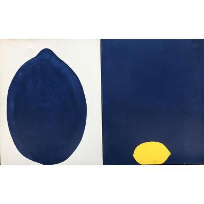 Oil On Canvas In Dyptique By Bernard Joubaire. Lemon Blue, 1969.