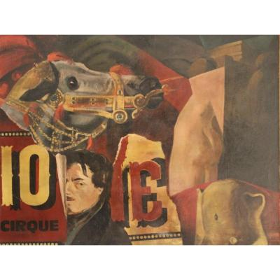 Huile Sur Toile Par Edmond Heuzé (1883-1967) .  Au cirque.