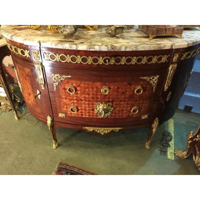 Wooden Mahogany Dresser, Half Moon, Marquetry Wood Cubes, 19th Century,
