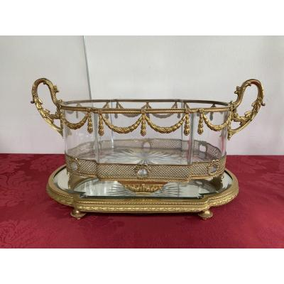 Centerpiece In Crystal And Bronze 19th Century