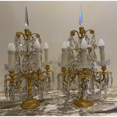 Pair Of Girandole, Bronze Candelabra