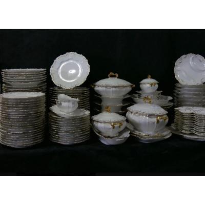Service de table En Porcelaine De Limoges Blanc Et Or