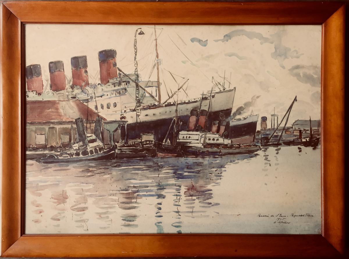 Grande Aquarelle Le Paquebot France Par Albert Lepreux 1868-1959