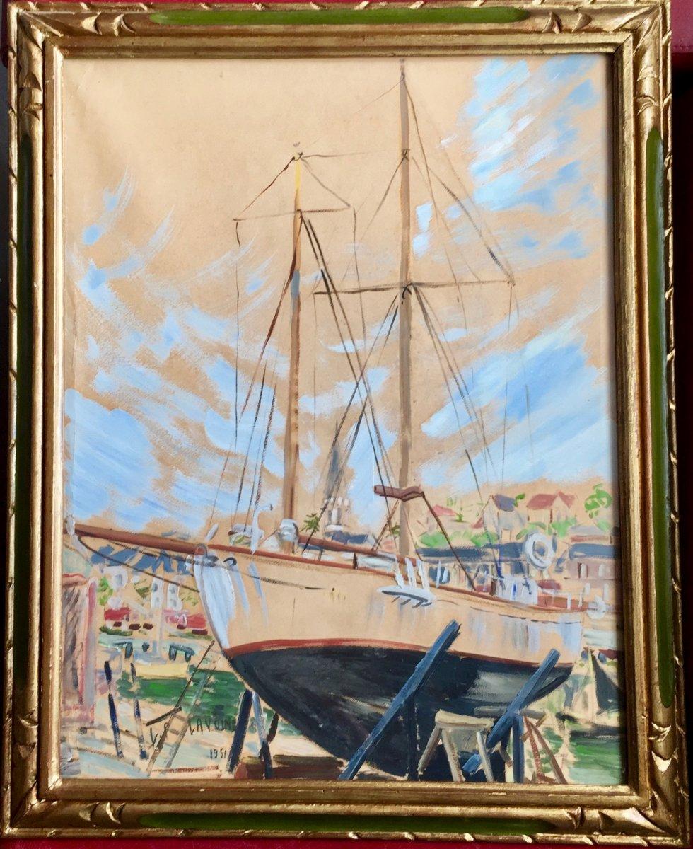 Voilier en cale au port de Honfleur daté 1951 signée  LP LAVOINE