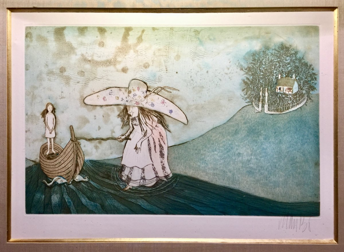 Lithograph Original Etching Signed De Lars Bo 1924 - 1999 - Around The Snow Queen