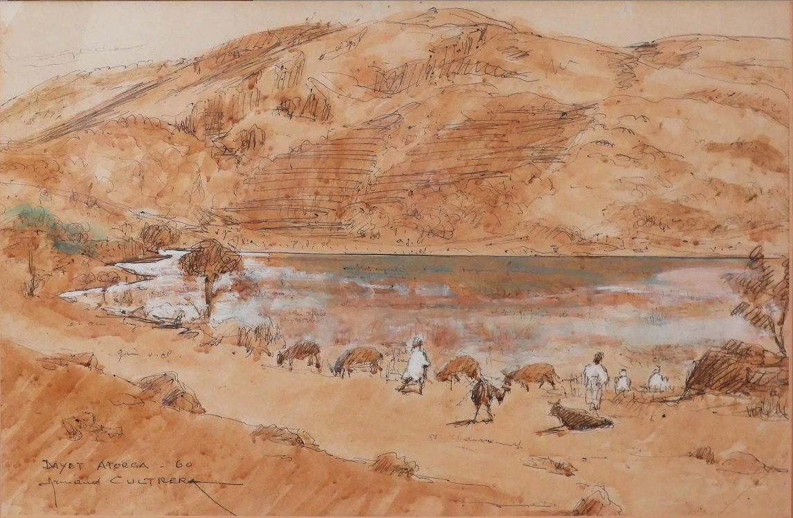 Morocco Dayet Afourgah Ink And Watercolor De Armand Cultera De Montaldo 1960