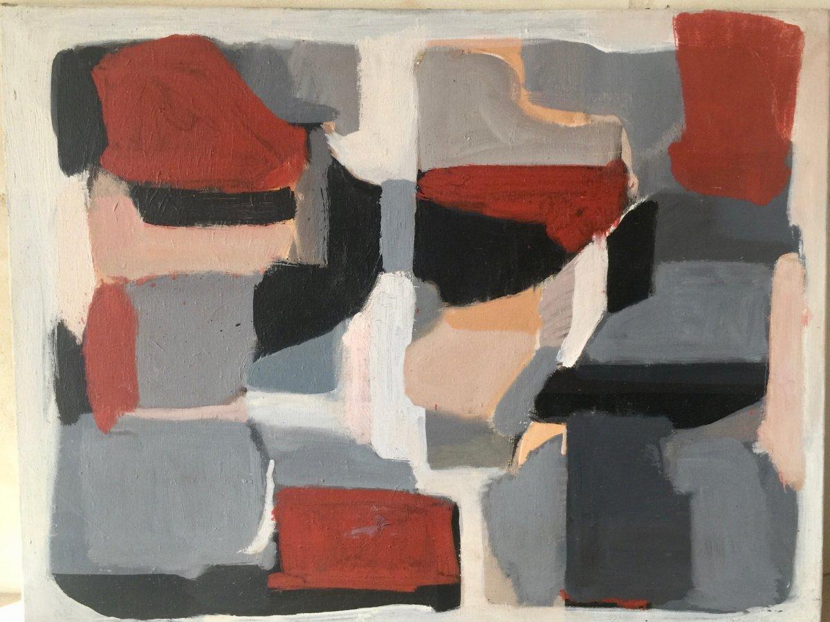 Abstraction De Hans Ragnar Berntson Né 1949  + 2019 Huile Sur Toile 65 X 50 Cm