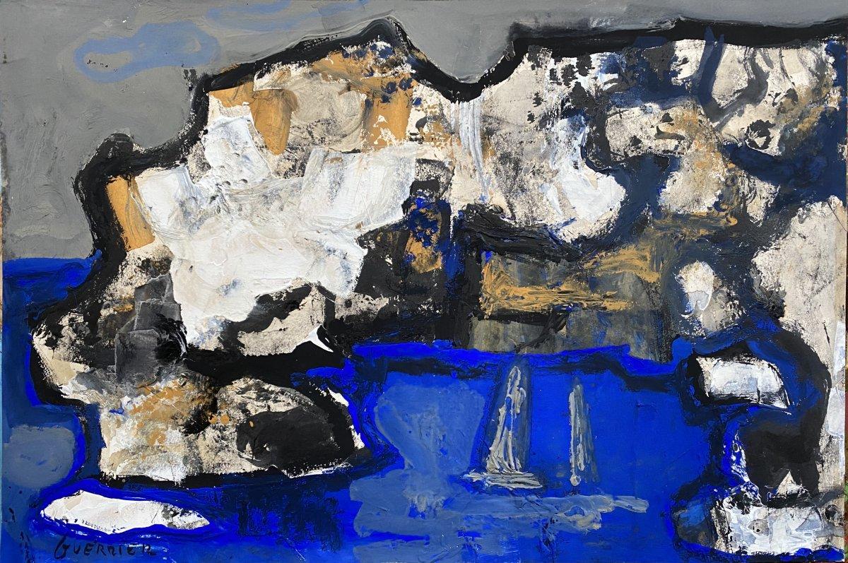 La Méditerranée, Les Calanques,  Oeuvre De Raymond Guerrier (1920-2002 Datée Janvier 1965 Signée En Bas à Gauche