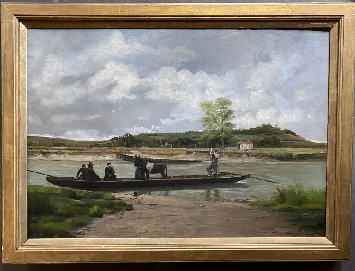 Oil On Canvas Animated Barge Signed Ch Sicard? Circa 19-20ème Beau Format 92,5x65cm