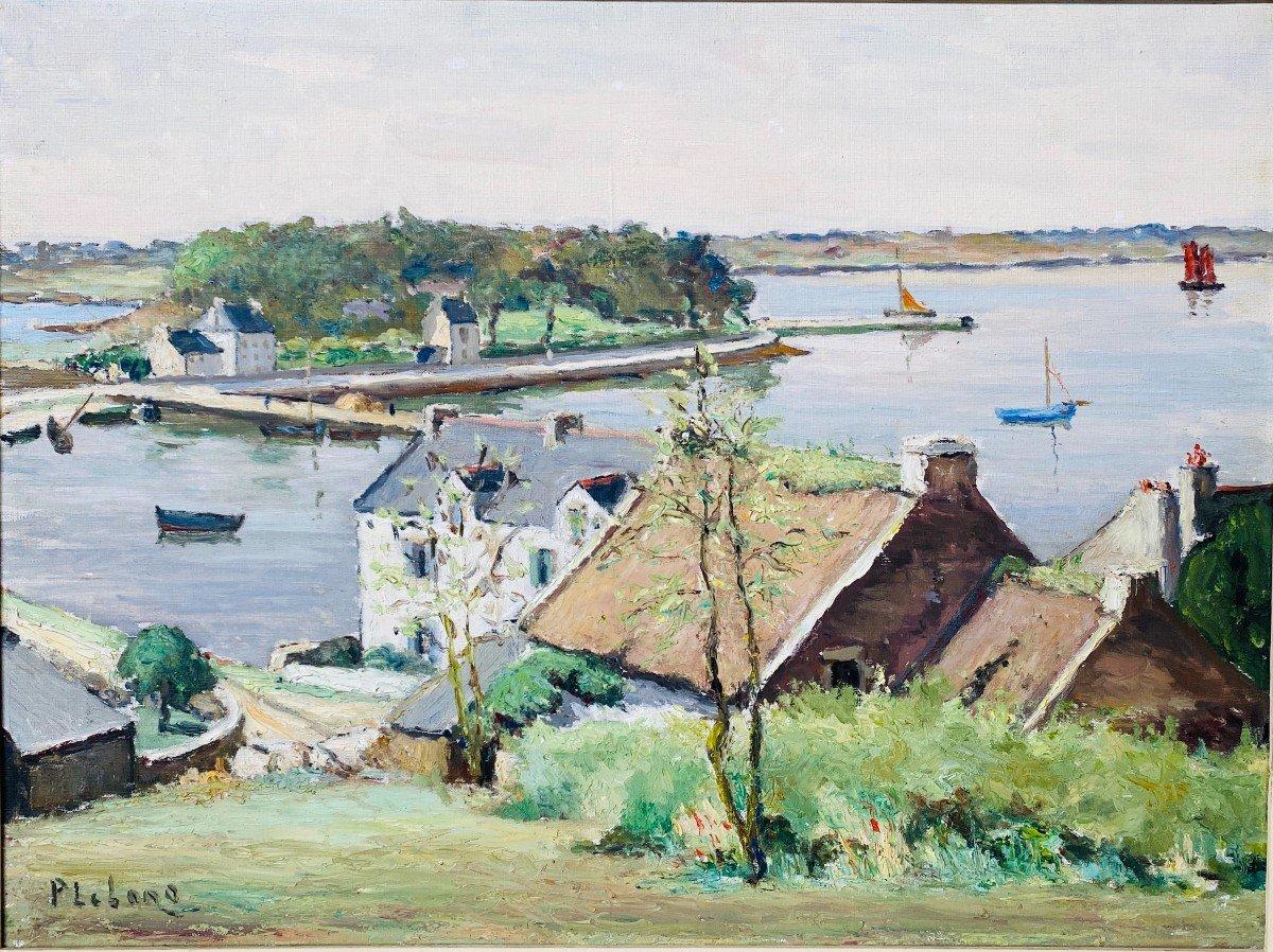 Beautiful Oil / Canvas Ile Au Moine Golf Morbihan Brittany Pierre Emile Lelong (1908-1984) -61x46