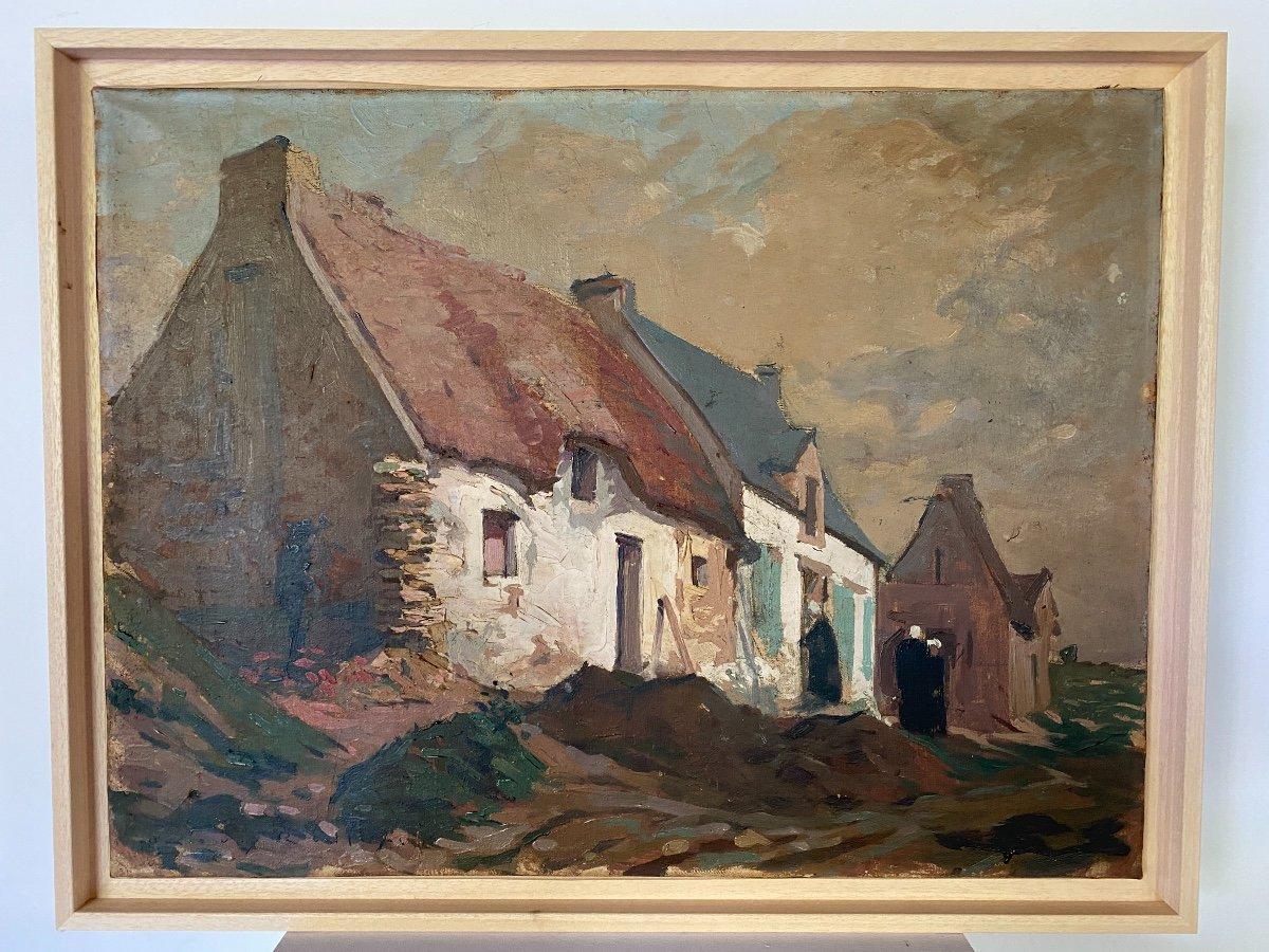 Breton Scene Oil On Canvas By Louis Rollet 18895 - 1988 61cm X 46 Cm