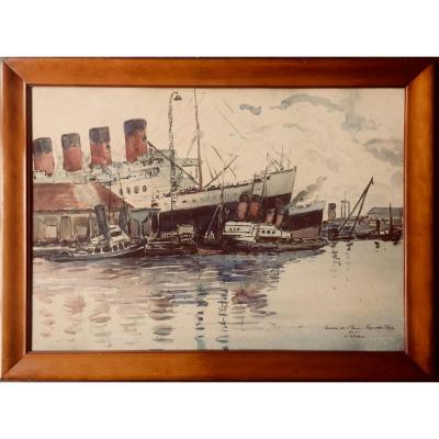 Great Watercolor The Paquebot France By Albert Lepreux 1868-1959