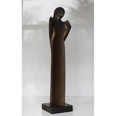 Grand Bronze L'Annonciation De Scarpa Riccardo 1964 Signé Numeroté 3/6