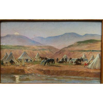 Orientaliste Maurice Romberg De Vaucorbeil Campement Route Fez