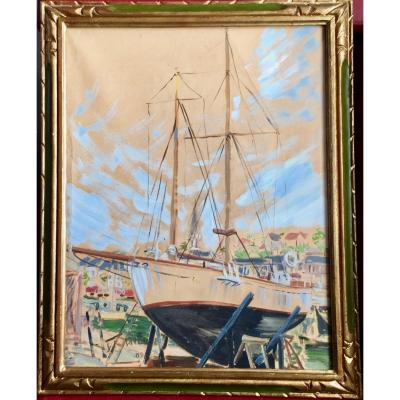 Sailboat In Hold At Port Dated 1951 Signed Lp Lavoine