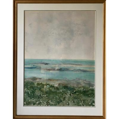 Large Watercolor By Jean Commere Iles De Chausey 96 X 72 Cm
