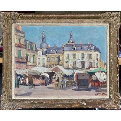 Lucien Hector Jonas The Market Place Henri IV In La Fleche In Sarthe In 1935 Oil On Hardboard