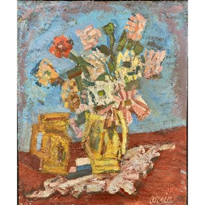Gilbert Corsia 1915 - 1985 Still Life With Bouquet Of Flowers Oil On Hardboard