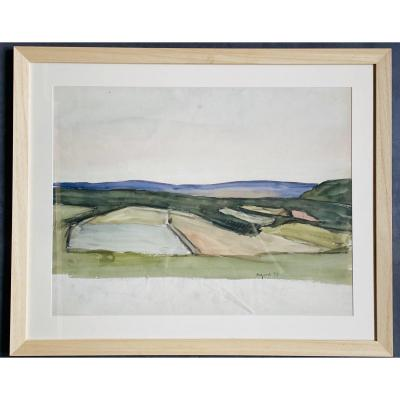 Large Watercolor 65x50 Cm From Maurice Le Scouezec Dated 1929