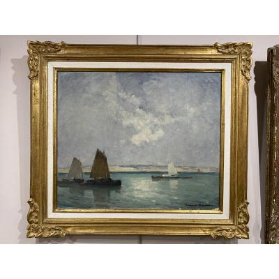Marine Oil Sailboats Henri Maurice Cahours Born In 1889 - 55cm X 46 Cm
