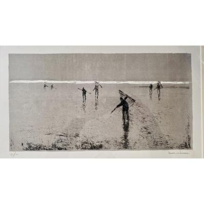 Beautiful Lithograph By Henri Maurice Cahours The Fishermen On The Beach In Normandy 50 X 27 Cm