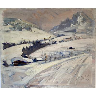 Montage Chalet Sous Le Neige Oil On Panel 1953 Signed Buis...?
