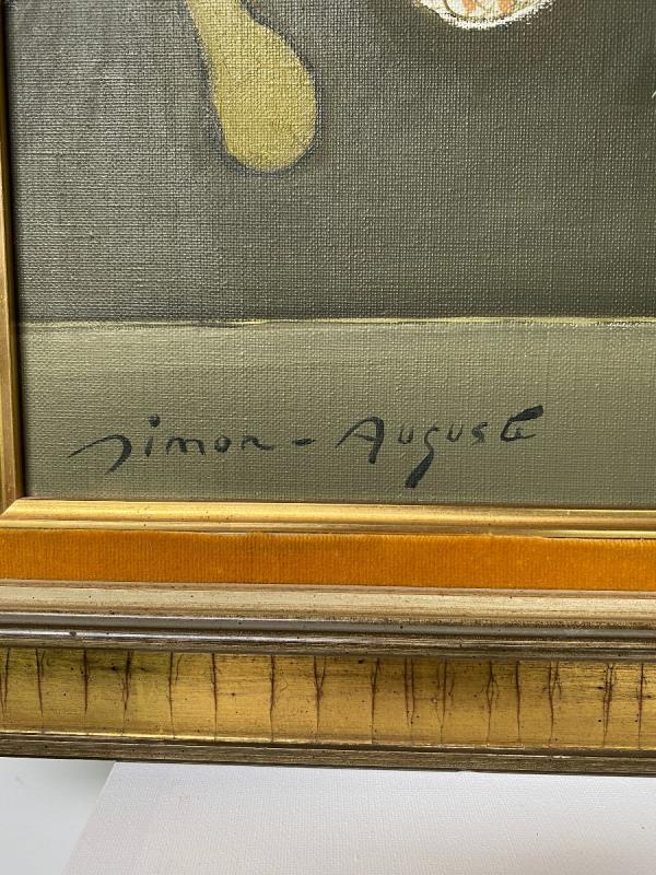 Simon Auguste - Huile Sur Toile 55 X 46 Cm Dans Son Cadre d'Origine Signée En Bas à Gauche-photo-2