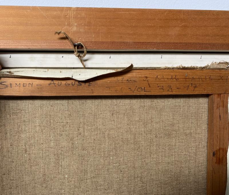 Simon Auguste - Huile Sur Toile 55 X 46 Cm Dans Son Cadre d'Origine Signée En Bas à Gauche-photo-4