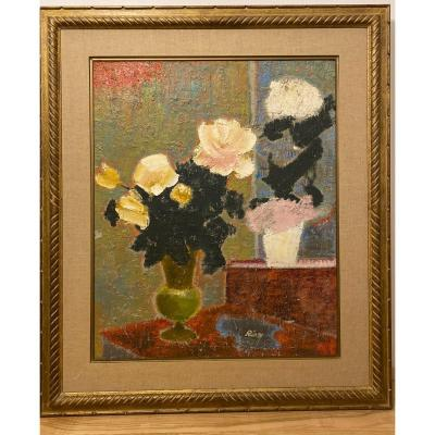 Two Bouquets Of Flowers Oil On Canvas By Ernest Risse 1921 2003