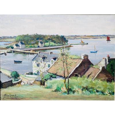 Beautiful Oil / Canvas Ile Au Moine Golf Morbihan Brittany Pierre Emile Lelong (1908-1984) -61x46
