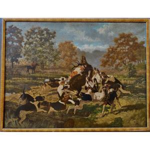 Huile Georges Emmanuel Oscar Tartarat 1832 1903  Peintre Animalier De Vénerie 130 X 98 Cm