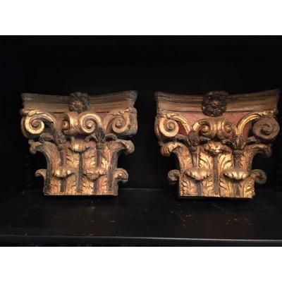 Pair Of Top Of XVIIIth Capitals