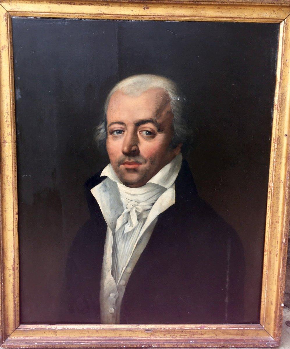 Portait d'homme Sur Panneau De Bois époque XVIII éme
