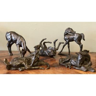 Ensemble De 5 Poulains En Bronze