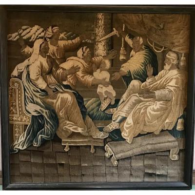 Grande Tapisserie XVII Eme Dans Son Cadre En Chêne