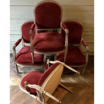 4 Louis XVI / XIXth Style Armchairs