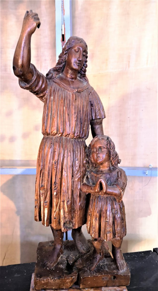 Sculpted Wood Statue, XVIIth Century Saint Anne And The Virgin