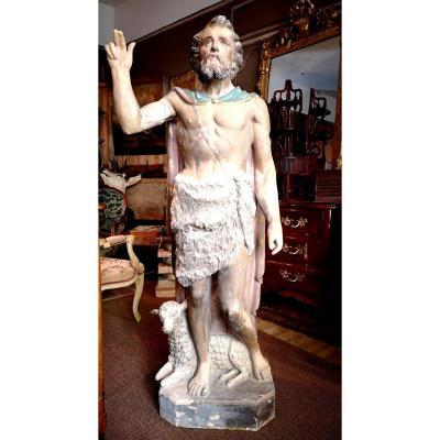 Grande Statue En Terre Cuite Polychrome d'époque XIXeme