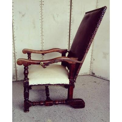 Armchair Louis XIII Epoque XVIIeme With Racks.