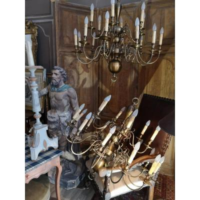Large Dutch Chandelier In Pair With 18 Arms Of Lights, Bronze And Golden Brass.
