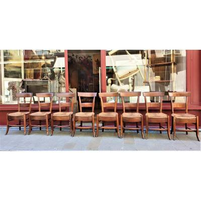 Series Of 8 Chairs Straws Period 18-19th Directory