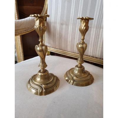 Paire De Bougeoirs En Bronze Doré Style Louis XV époque XIXeme