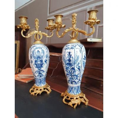 Pair Of Candlesticks In Bronze And Earthenware Late Nineteenth Time