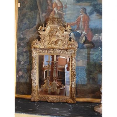 Miroir Régence Avec Fronton époque XVIIIeme
