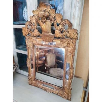 Miroir à Parecloses  d'époque Régence  18ème.